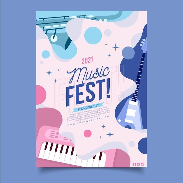 2021 cartel ilustrado del festival de música Vector Premium