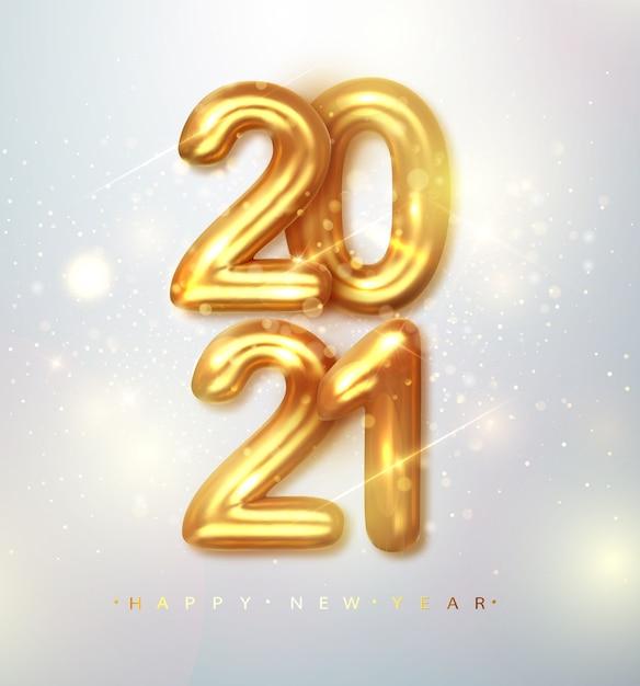 2021 feliz año nuevo. banner de feliz año nuevo con números metálicos dorados fecha 2021 vector gratuito