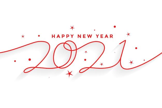 2021 feliz año nuevo fondo de letras de estilo de línea vector gratuito