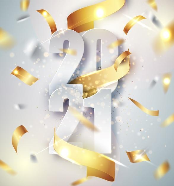 2021 feliz año nuevo fondo de vector elegante con cinta de regalo dorada, confeti, números blancos vector gratuito