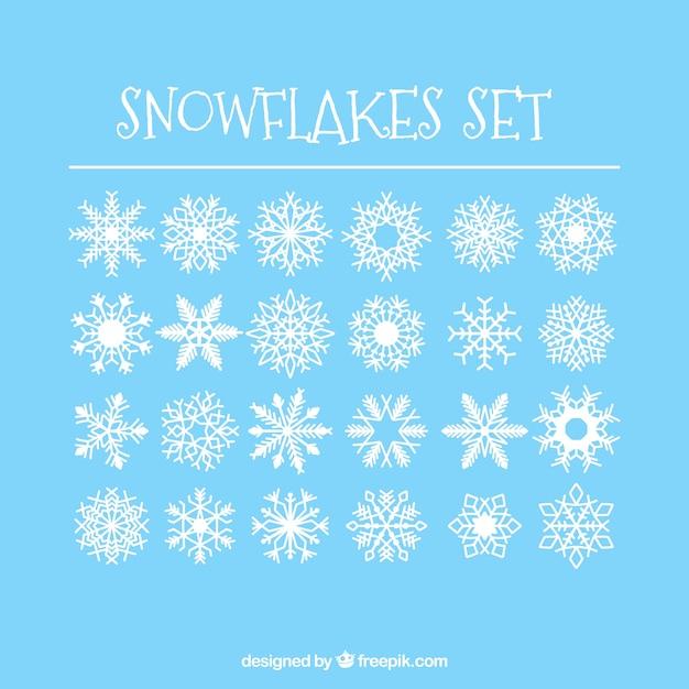 24 copos de nieve simples set Vector Gratis