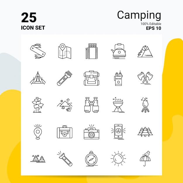 25 camping icon set business logo concept ideas line icon Vector Premium