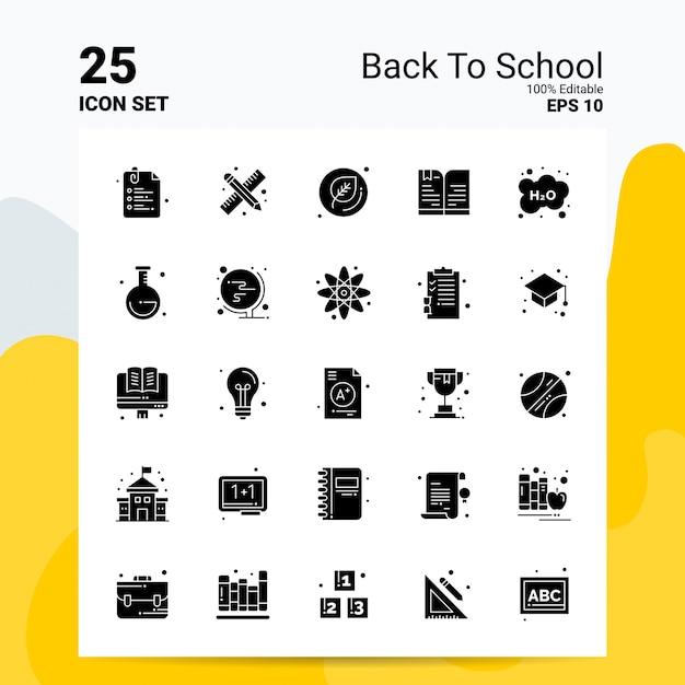 25 conjunto de iconos de regreso a la escuela ideas de concepto de logotipo de empresa icono de glifo sólido vector gratuito