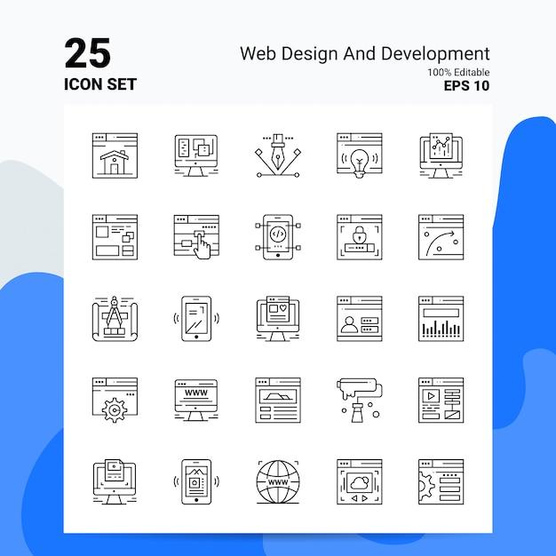 25 conjunto de iconos web y desarrollo icono de línea de ideas de concepto de logotipo de empresa vector gratuito