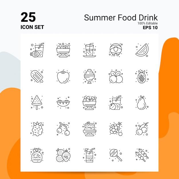 25 summer food drink icon set business logo concept ideas line icon vector gratuito