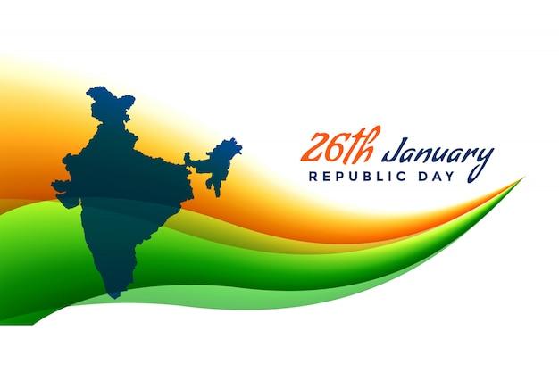 26 de enero bandera del día de la república con el mapa de la india vector gratuito