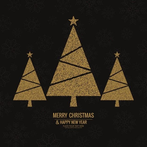3 rboles de navidad dorados sobre un elegante fondo negro - Arboles de navidad dorados ...