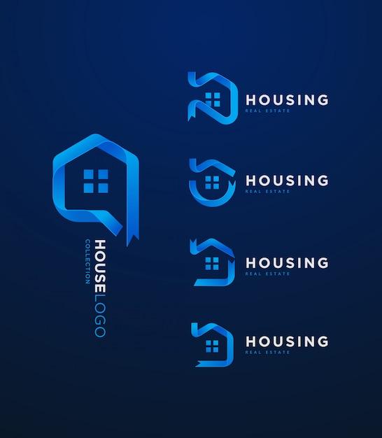 3d degradado azul cinta casa logo colección Vector Premium