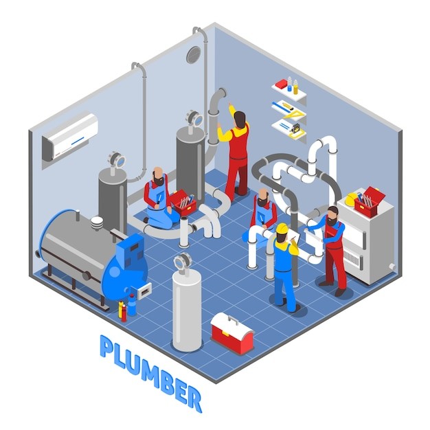 3d fontanero personas composición vector gratuito