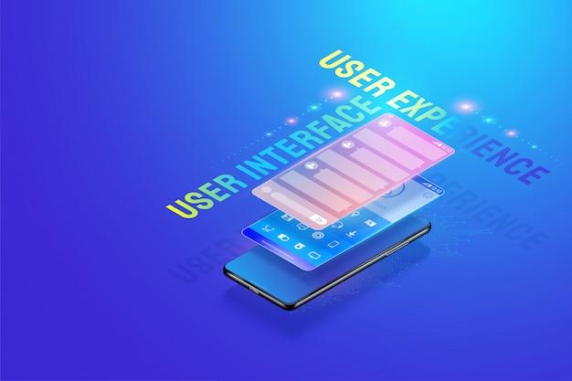 3d isometric mobile app ui ux ilustración de diseño, creación y diseño de interfaz de usuario, experiencia de usuario y vector de concepto de desarrollo de aplicaciones. Vector Premium