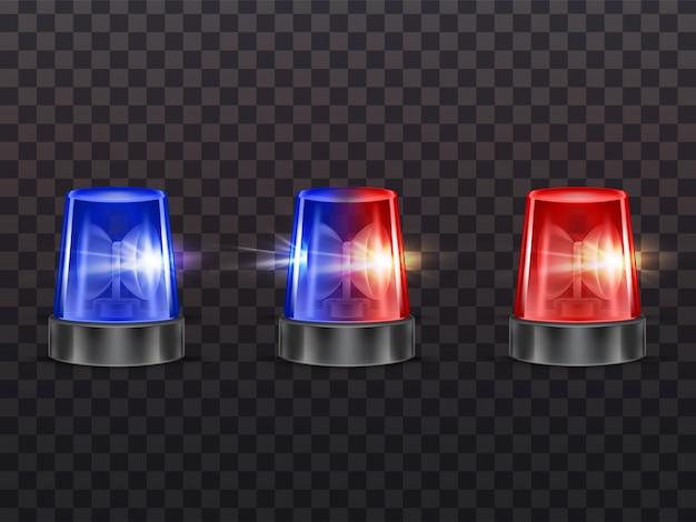 3d realistas luces rojas y azules. sirena de policía, ambulancia u otro servicio municipal. vector gratuito