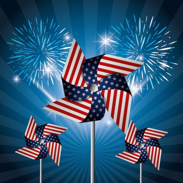 4 de julio celebración del día de la independencia de estados unidos. vector gratuito