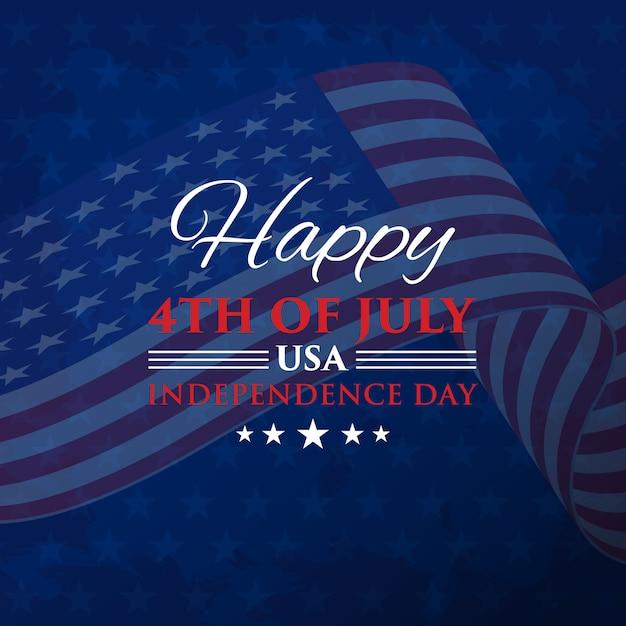 4 de julio día de la independencia con bandera Vector Premium