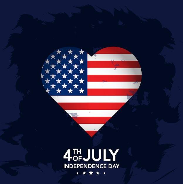 4 de julio día de la independencia con corazón. Vector Premium