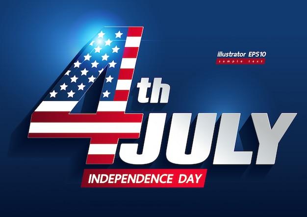 4 de julio día de la independencia Vector Premium