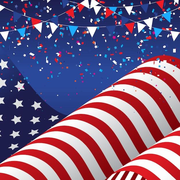 4 de julio usa con bandera americana. vector gratuito
