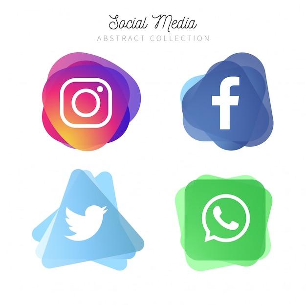 4 logotipos abstractos de redes sociales populares Vector Gratis