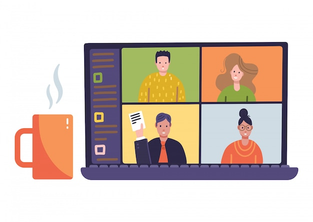 4 paneles young man woman on online remote remote meetings, video web conference. Vector Premium