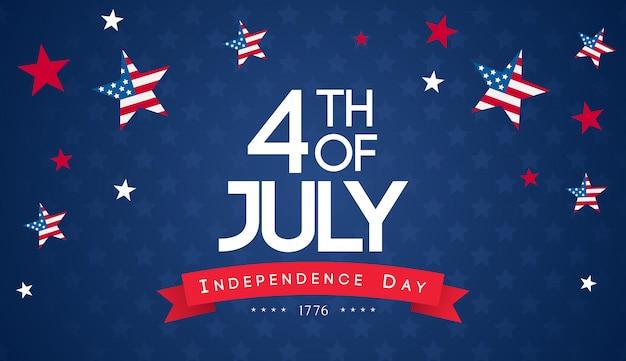 4 de vector de fondo de julio. dia de la independencia de estados unidos Vector Premium