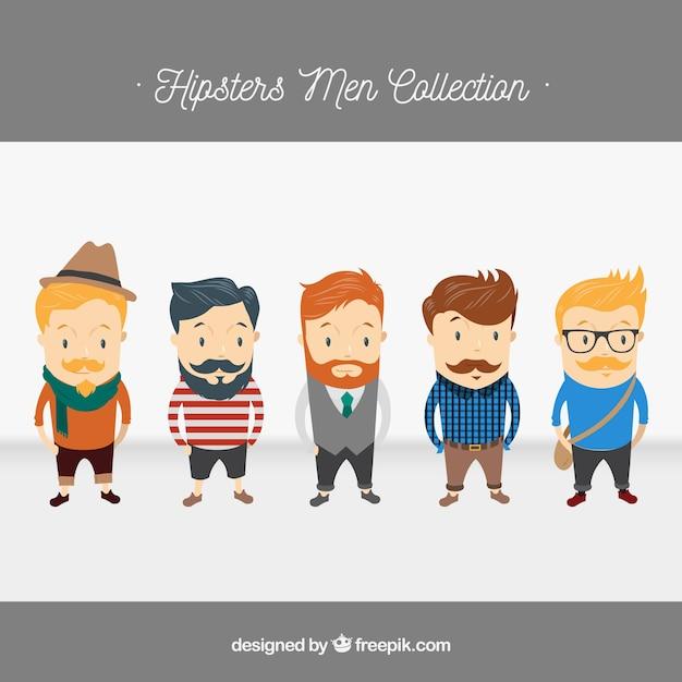 5 caracteres Hipster, paquete de vectores Vector Gratis
