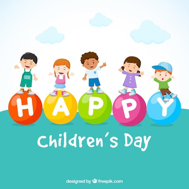 5 niños felices en el día del niño vector gratuito