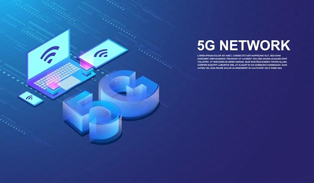 5g red de comunicación de internet Vector Premium