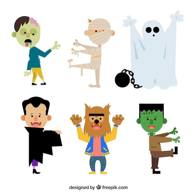 6 personajes de halloween sobre un fondo blanco vector gratuito