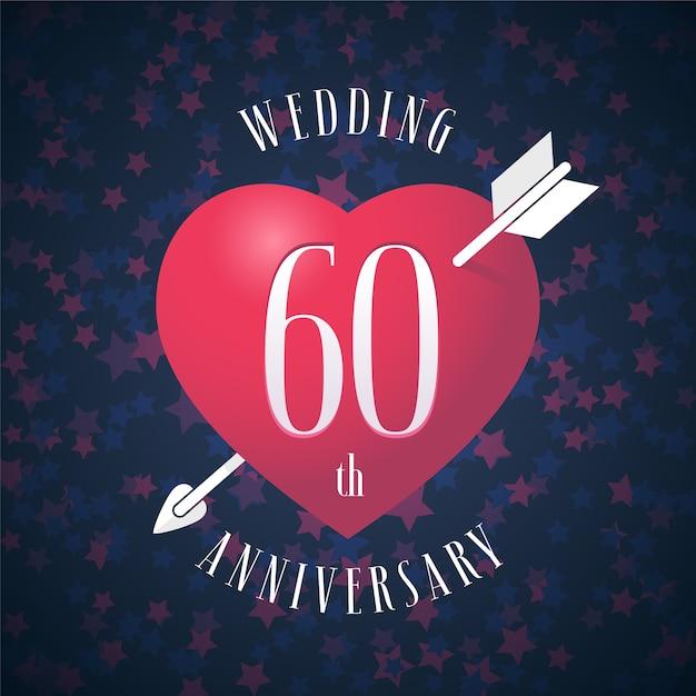 60 Años De Matrimonio Corazón Y Flecha Para La Decoración De La Boda Del 60 Aniversario Vector Premium