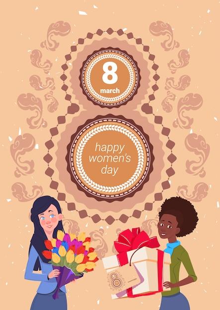 8 de marzo fondo de vacaciones chicas lindas con caja de regalo y ramo de flores sobre el saludo del día de la mujer feliz Vector Premium