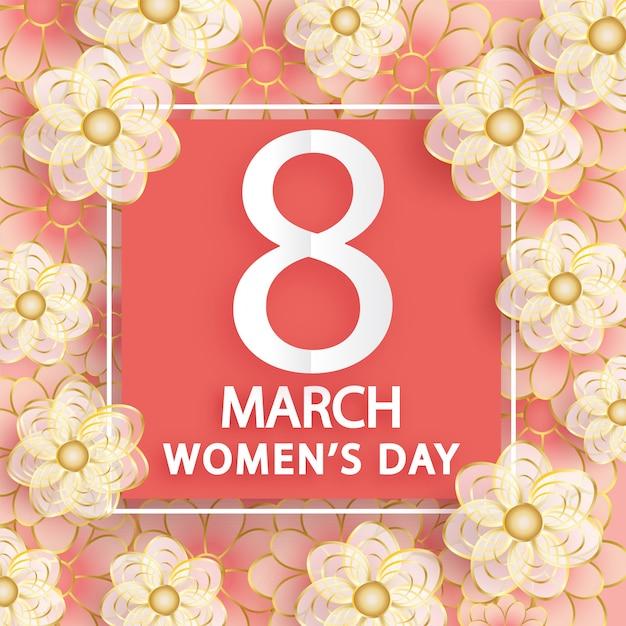 8 de marzo. tarjeta de felicitación del día de la mujer. origami floral. Vector Premium