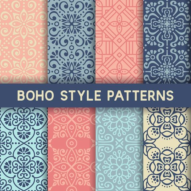 8 patrones con elementos ornamentales Vector Gratis