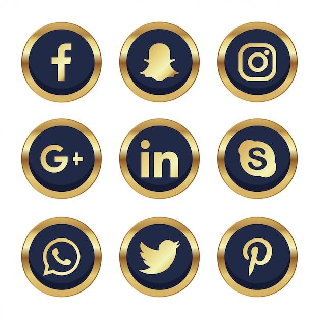 9 redes sociales con detalles dorados vector gratuito