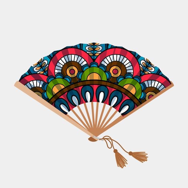 Abanico asiático vintage ornamento floral Vector Premium