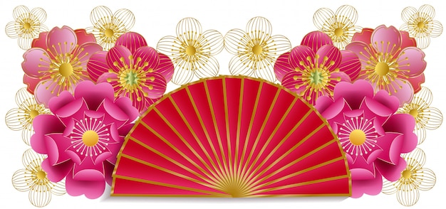 Abanico y corte de papel en flor de cerezo. Vector Premium