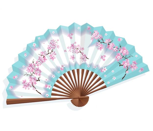 Abanico de papel azul japonés con sakura. Vector Premium