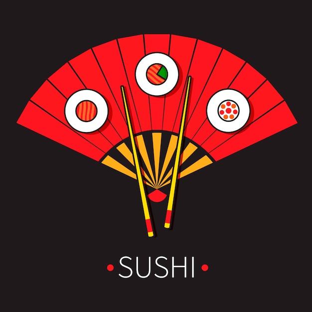 Abanico plegable rojo japonés con sushi y palillos. Vector Premium