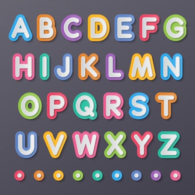 Abecedario de colores vector gratuito