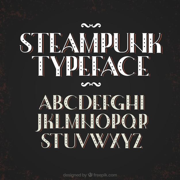 Abecedario en estilo steampunk vector gratuito