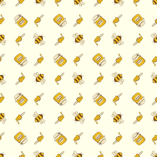 Abeja linda inconsútil con miel, plantilla de patrón de abeja de dibujos animados para textil Vector Premium