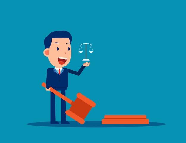 El abogado que sostiene el concepto de legislación de martillo de juez Vector Premium