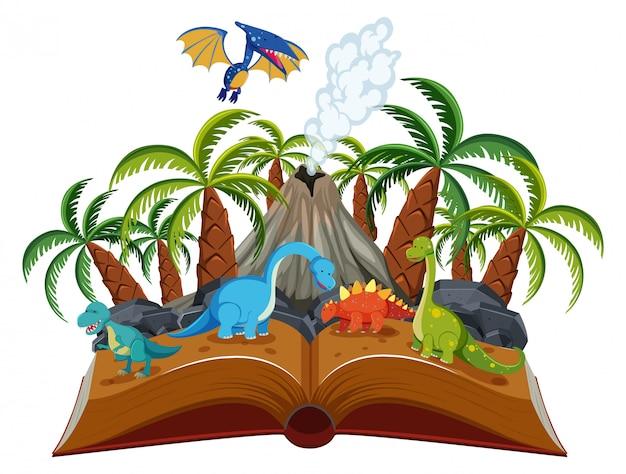 Abra el tema del dinosaurio del libro | Descargar Vectores Premium