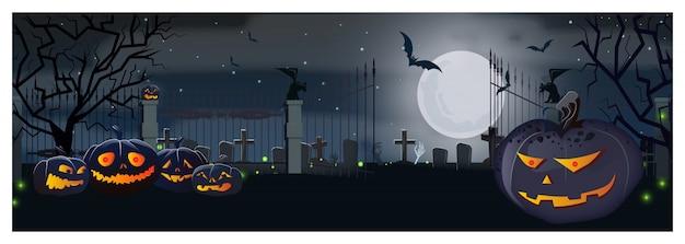 Abra la puerta del cementerio con calabazas y murciélagos en la noche de luna vector gratuito