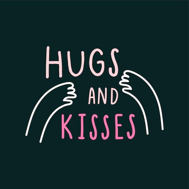 Abrazo y besos con amoroso vector de brazos. vector gratuito