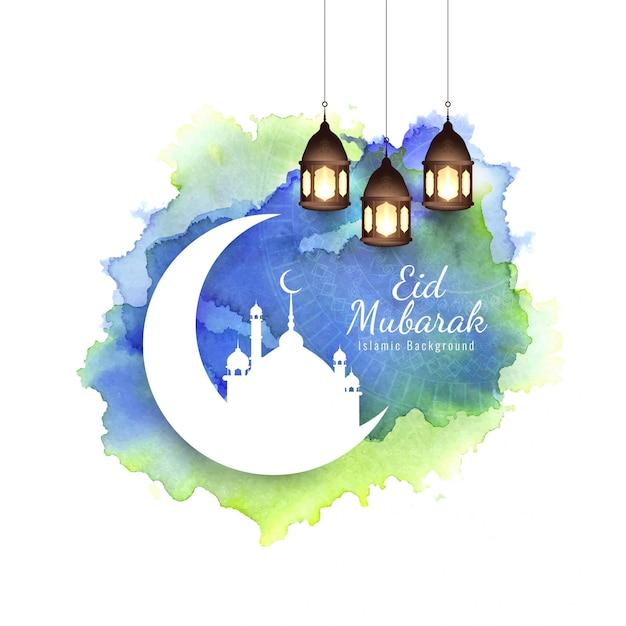Abstracto eid mubarak islámico religioso vector gratuito