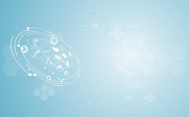 Abstracto salud ciencia médica fondo sanitario tecnología digital Vector Premium