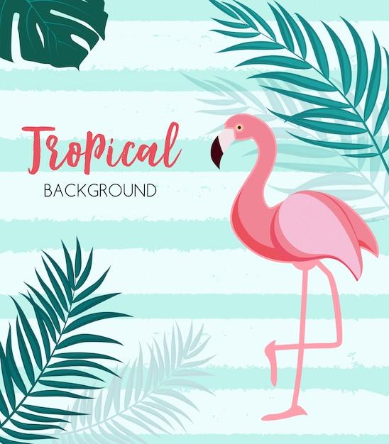 Abstracto tropical con flamenco y hojas de palma Vector Premium