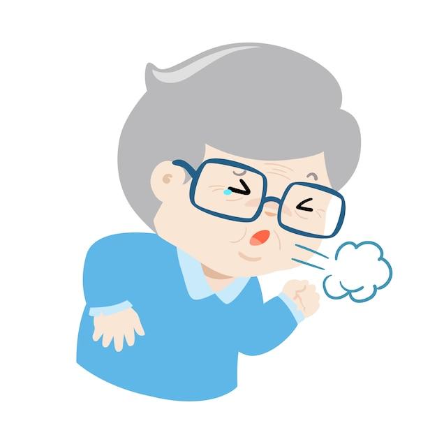 El abuelo que tose con fuerza causa el vector de la enfermedad de la gripe. Vector Premium