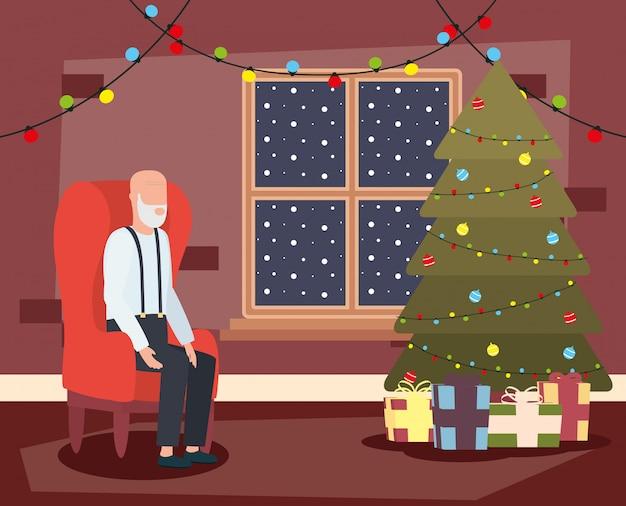 Abuelo en salón con decoración navideña vector gratuito