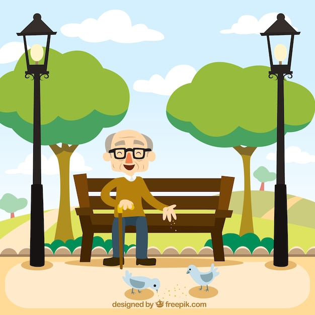 abuelo sentado en un banco descargar vectores premium park bench clipart black and white Park Table