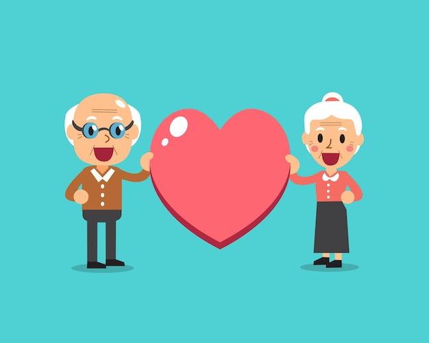 Abuelos felices con gran corazón signo vector ilustración de dibujos animados Vector Premium